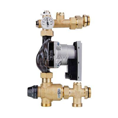 Смесительный узел для теплого пола 35-60 °C с возможностью подключения байпаса
